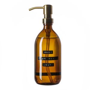 102521 Soap dispenser amber glass bamboo hand soap 500ml. WASH YOUR HANDS MUM. Brass 8720165018031
