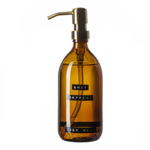 102523 Soap dispenser amber glass bamboo hand soap 500ml. SHIT HAPPENS JUST WASH. Brass 8720165018048