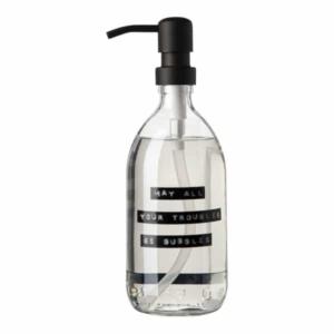 102530 Soap dispenser transparent glass fresh linen hand soap 500ml black MAY ALL YOUR TROUBLES BE BUBBLES 8719325913194 kopie kopie